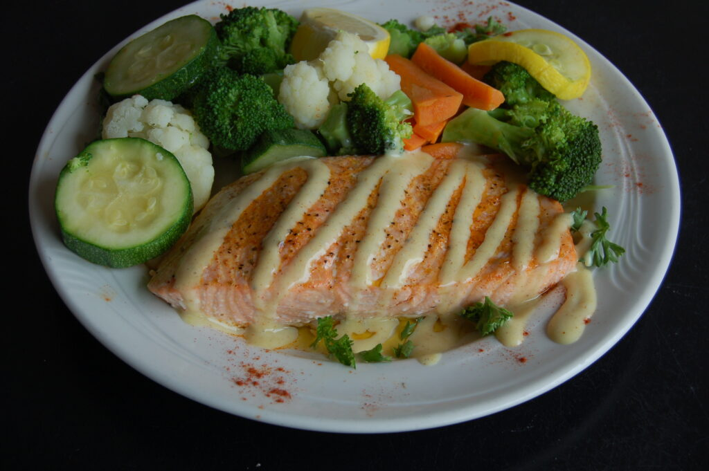 Salmon with Fresh Steamed Vegetables